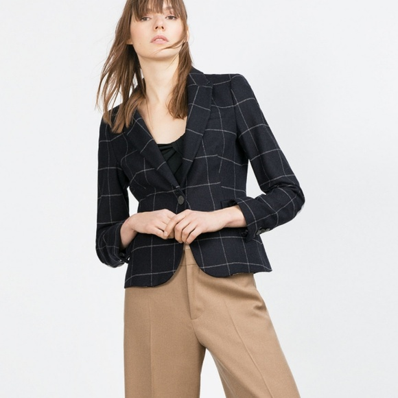 low priced cc095 25ac9 Zara check wool blazer wkth gray elbow patches